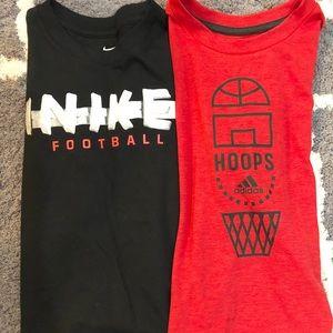 2 boy tops Nike/adidas Size 5